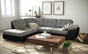 tendencio Canapé d'angle Convertible en lit GALIS – Assise en Tissu et Contour en Simili Cuir (Gris et Noir, Angle Gauche)