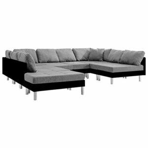 WooDlan Canapé d'angle Convertible Canapé d'angle Canapé sectionnel Similicuir Noir