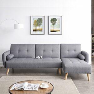 JFB Le Hanna : Canapé d'angle scandinave Convertible 3 Places Gris