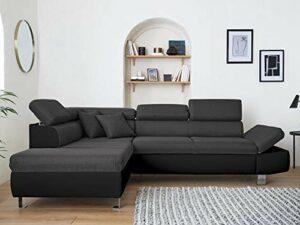 Lisa Design – Nairobi – Canapé d'angle Convertible – en Simili et Tissu – 5 Places – avec têtières – Gauche