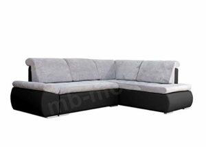 MEUBLO Canapé d'angle Convertibles 3 Places Tissu + Simili Cuir Bonita (Gris Clair + Noir, Canapé d'angle Droit)