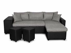 UsineStreet Canapé d'angle Oslo Convertible Noir/Gris avec Coffre et poufs – Position du Rangement poufs – Gauche