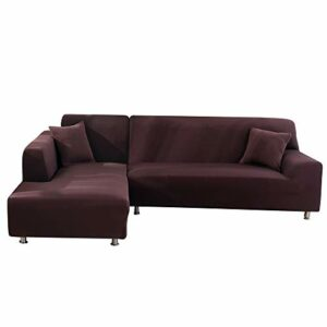 papasgix Housse de Canapé d'angle Extensible Protection du Sofa Universelle Revêtement de Canapé avec Accoudoirs Antipoussière, Couverture pour Canapé en Forme de L 2 Pièces(Café,1 Place+2 Places)