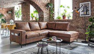 Bobochic – Lilly L – Canapé d'angle L – 5 Places – Convertible – Industriel Vintage – Angle Droit