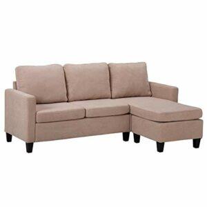 Grand canapé d'angle convertible convertible en tissu 190 cm double méridienne convertible lit en L beige meuble de salon