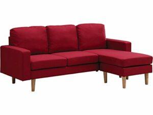 Habitat & Jardin – Canapé d'angle réversible en Tissu Gabby – 3 Places – Rouge