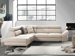 Bestmobilier – Linea – Canapé d'angle Gauche Convertible scandinave – L 252 x P 190cm