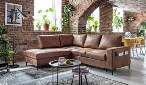 Bobochic – Lilly L – Canapé d'angle L – 5 Places – Convertible – Industriel Vintage – Angle Gauche