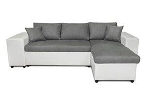 Loungitude – Canapé d'angle convertible avec coffre, 2 poufs et étagère en simili et microfibre – Blanc/gris – 3 + 2 Places