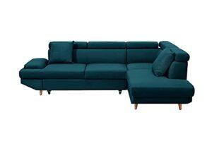 Loungitude – Canapé d'angle droit scandinave convertible angle en tissu – Bleu pétrole – 4 Places
