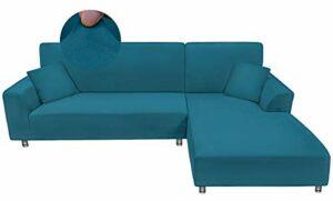 Taiyang House Canapé d'angle, Housse de canapé 1 pièce 3 Places (Le canapé d'angle a Besoin de 2 pièces), Élastique Couverture Canapé avec 1 taie d'oreiller (3 Places, lac Bleu)