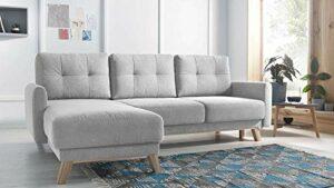 Bobochic – BALIO – Canapé d'angle en Tissu Convertible avec Coffre 4 Places – Gauche