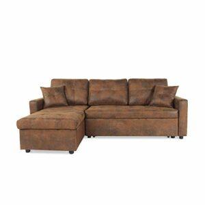 INTENSEDECO Canapé d'angle Convertible Cuero Vintage