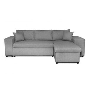 Loungitude – Canapé d'angle convertible avec coffre, 2 poufs et étagère en tissu – Gris clair – 3 + 2 Places