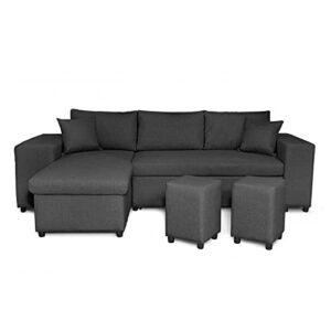 Loungitude – Canapé d'angle convertible avec coffre, 2 poufs et étagère en tissu – Gris foncé – 3 + 2 Places