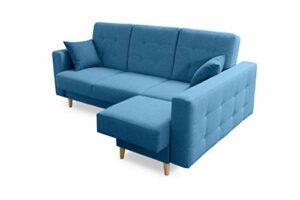 Robin Hilton Canapé d'angle convertible avec coffre de lit et coussins Forme L Canapé d'angle autoportant avec fonction couchage Bleu