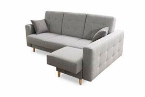 Robin Hilton Canapé d'angle convertible avec tiroir de lit et coussins Forme L Canapé d'angle autoportant, garniture de canapé avec fonction couchage (argent)