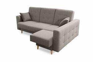 Robin Hilton Canapé d'angle convertible avec tiroir de lit et coussins Forme L Canapé d'angle autoportant, garniture de canapé avec fonction couchage (gris clair)