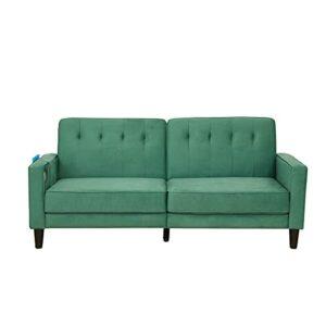 SURFLINE Canapé d'angle en Tissu Canapé Convertible Canapé Convertible inclinable avec Port USB et Sac de Rangement Salon Chambre Vert
