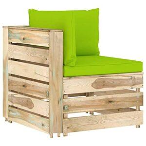 vidaXL Bois Imprégné de Vert Canapé d'angle Sectionnel avec Coussins Canapé d'angle d'Extérieur Canapé de Terrasse Meuble de Jardin Patio