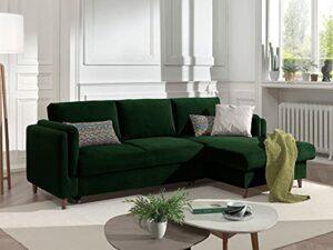 Lisa Design – Brooke – canapé d'angle Convertible – avec Coffre – 4 Places – Style Contemporain – Droit