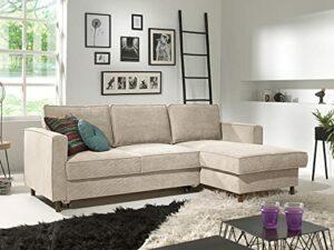 Lisa Design – Jake – canapé d'angle Convertible – avec Coffre – 4 Places – en Velours côtelé – Droit