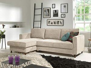 Lisa Design – Jake – canapé d'angle Convertible – avec Coffre – 4 Places – en Velours côtelé – Gauche