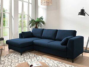 Lisa Design – Tala – canapé d'angle Convertible – avec Coffre – 4 Places – Style Contemporain – Gauche