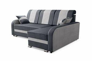 Robin BARL Canapé d'angle avec Fonction de Couchage, Canapé Reversible Canapé-lit avec Compartiment de Couchage et Coussins, Coffre de Rangement, Canapé d'angle en L Droit ou Gauche