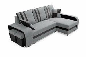 Robin York Canapé d'angle avec Une Fonction de Couchage, Un Canapé-lit avec Une Caisse pour la Literie et Deux Tabourets de Bar, Un Canapé d'angle en L Indépendant, Reversible Droit ou Gauche