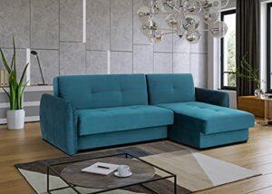 Canapé d'angle Convertible Kain Design en Tissu avec Coffre de Rangement (Turquoise)