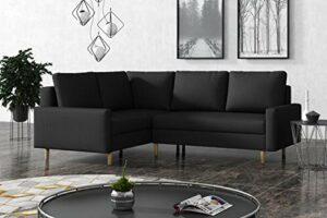 La Petite Maison – Canapé d'angle Gauche Convertible avec 2 coffres de Rangement – 230 x 72 x 180 cm – Gris Anthracite